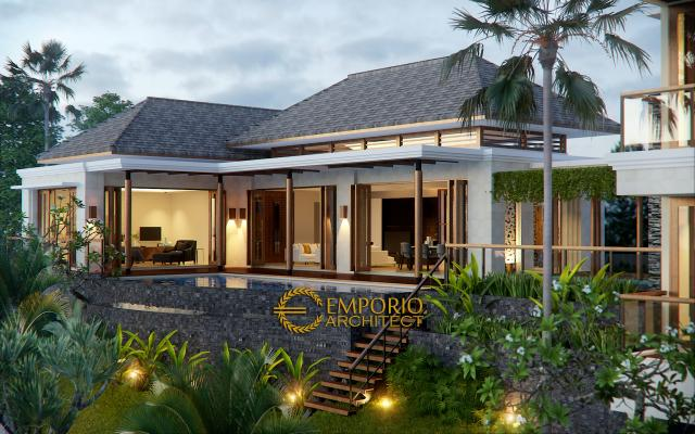 Desain Exterior 2 Rumah Villa Bali 2 Lantai Ibu Winona di Bandung
