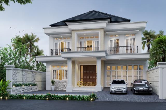 Desain Tampak Depan Rumah Classic 2 Lantai Bapak Yogi di Bandung, Jawa Barat