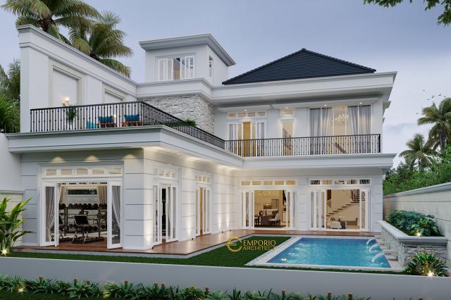 Desain Tampak Belakang Rumah Classic 2 Lantai Bapak Yogi di Bandung, Jawa Barat
