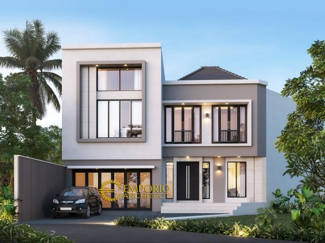 Desain Tampak Depan Rumah Modern 2 Lantai Ibu Sandra di Bekasi