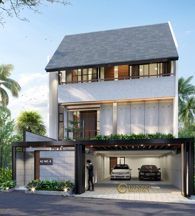 Desain Tampak Depan 1 Rumah Modern 3 Lantai Ibu Indri di Bekasi, Jawa Barat
