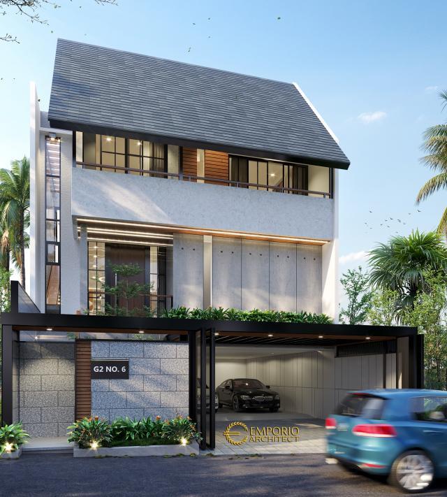 Desain Tampak Depan 2 Rumah Modern 3 Lantai Ibu Indri di Bekasi, Jawa Barat