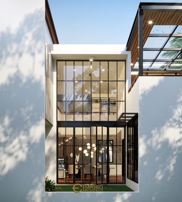 Desain Tampak Belakang Rumah Modern 3 Lantai Ibu Indri di Bekasi, Jawa Barat