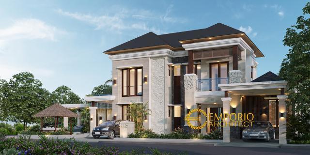 Desain Tampak Depan Rumah Villa Bali 2 Lantai Bapak Novi di Bekasi, Jawa Barat