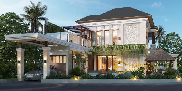 Desain Tampak Samping Rumah Villa Bali 2 Lantai Bapak Novi di Bekasi, Jawa Barat