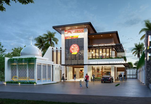 Desain Tampak Depan 1 Toko Daging dan Kedai Steak Modern 2 Lantai Suri Nusantara di Bekasi, Jawa Barat