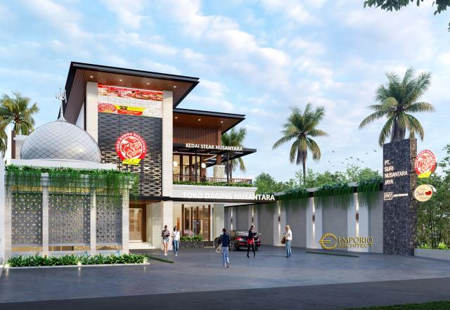 Desain Tampak Depan 2 Toko Daging dan Kedai Steak Modern 2 Lantai Suri Nusantara di Bekasi, Jawa Barat