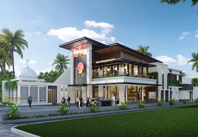 Desain Tampak Samping Toko Daging dan Kedai Steak Modern 2 Lantai Suri Nusantara di Bekasi, Jawa Barat