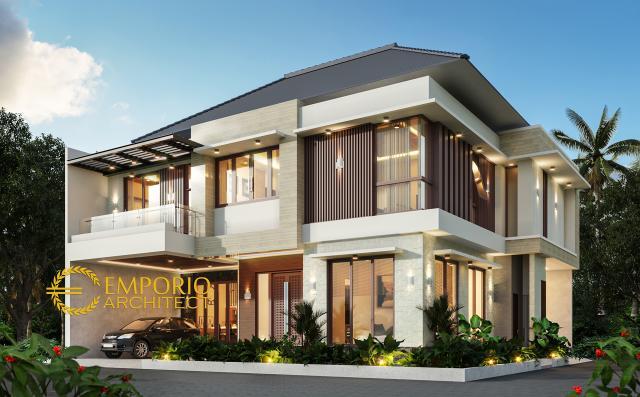 Desain Tampak Hook Rumah Modern 2 Lantai Ibu Kiki di Bogor, Jawa Barat