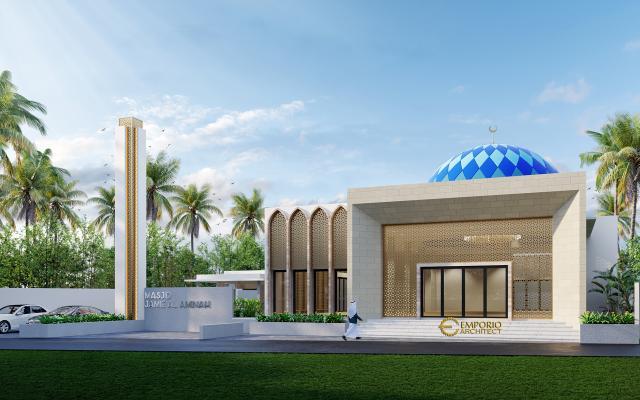 Desain Tampak Depan 1 Masjid Modern 1 Lantai Jamie Al Minah di Cikarang, Bekasi, Jawa Barat