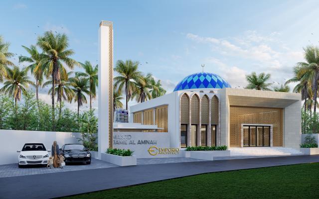 Desain Tampak Depan 2 Masjid Modern 1 Lantai Jamie Al Minah di Cikarang, Bekasi, Jawa Barat