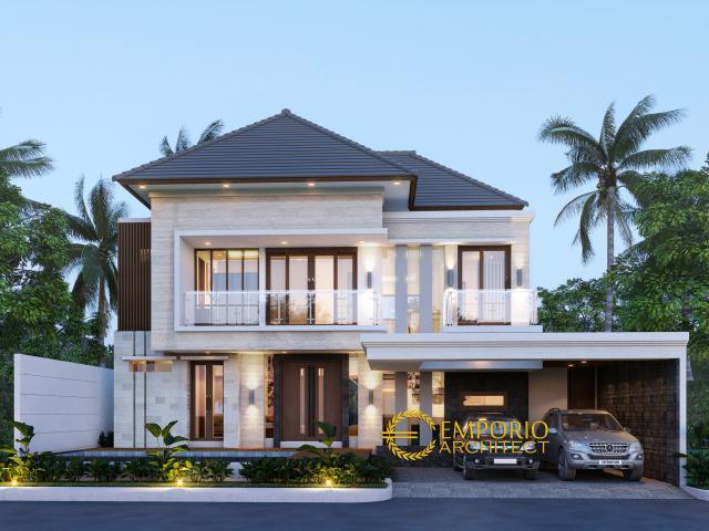 Desain Tampak Depan Rumah Modern 2 Lantai Ibu Eta di Denpasar, Bali