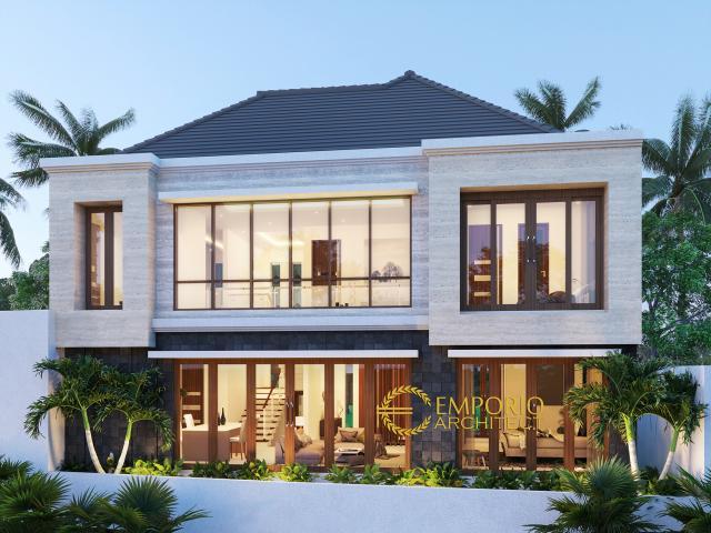Desain Tampak Belakang Rumah Modern 2 Lantai Ibu Eta di Denpasar, Bali