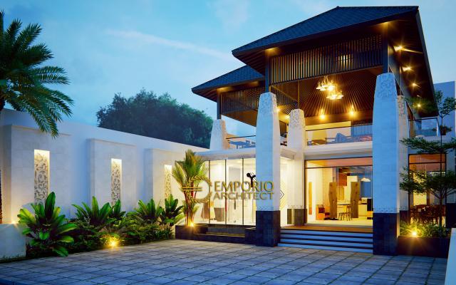 Desain Tampak Depan Hostel Style Villa Bali 2 Lantai Bapak Yohanes di Berawa, Canggu, Bali