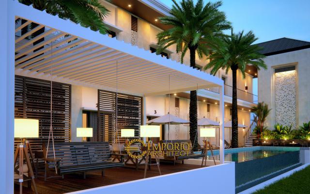 Desain Tampak Belakang Hostel Style Villa Bali 2 Lantai Bapak Yohanes di Berawa, Canggu, Bali