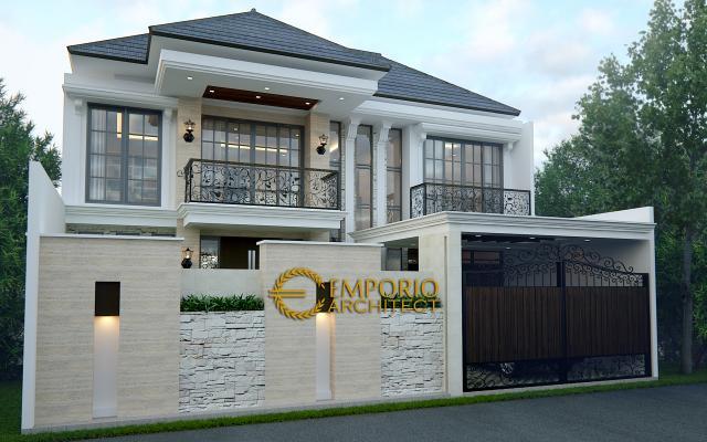 Desain Tampak Depan Rumah Classic 2 Lantai Bapak Adi di Jagakarsa, Jakarta Selatan