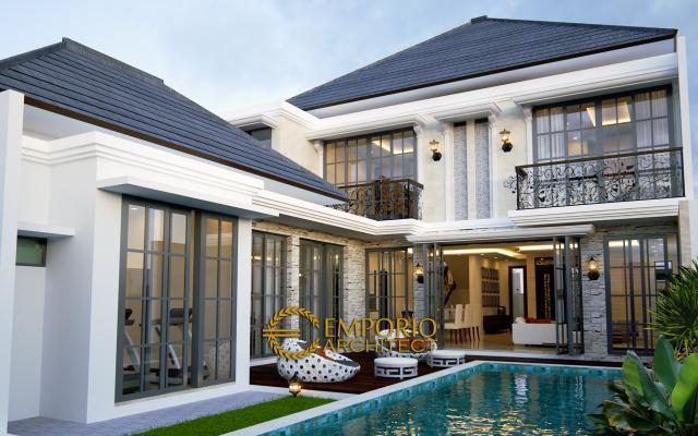 Desain Tampak Belakang Rumah Classic 2 Lantai Bapak Adi di Jagakarsa, Jakarta Selatan