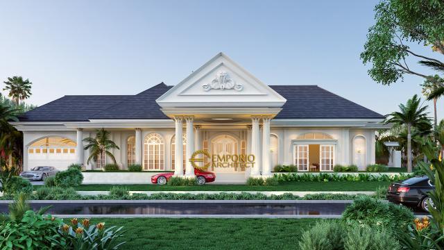 Desain Tampak Depan Rumah Classic 1 Lantai Bapak Agus di Bangka