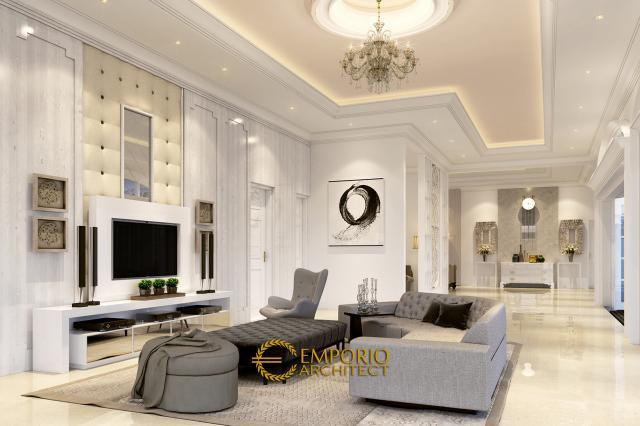 Desain Ruang Keluarga Rumah Classic 1 Lantai Bapak Agus di Bangka