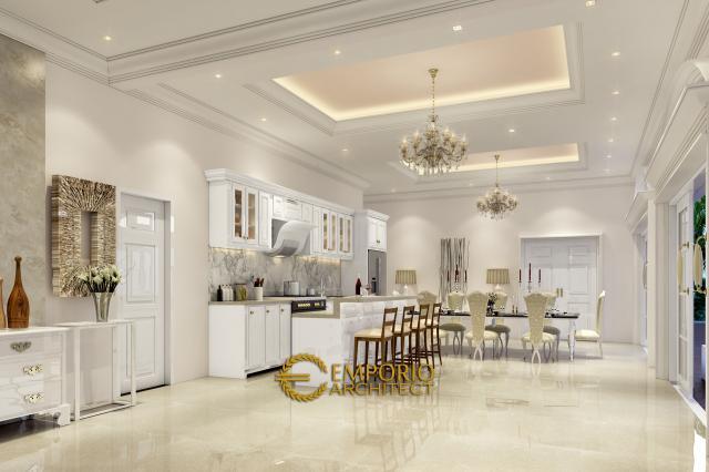Desain Ruang Makan dan Dapur Rumah Classic 1 Lantai Bapak Agus di Bangka