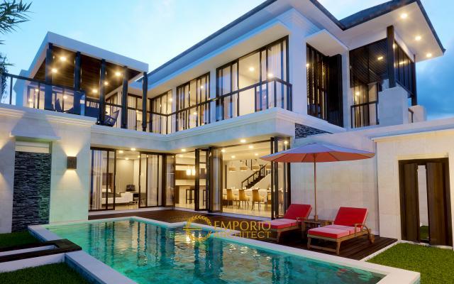 Desain Rumah Hook Villa Bali 2 Lantai Bapak Ahmad di  Bekasi