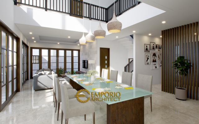 Desain Ruang Makan Rumah Hook Modern 2 Lantai Bapak Andreas di Jakarta