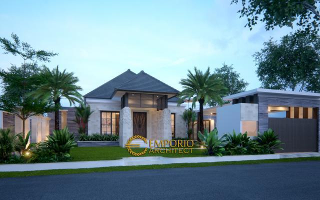Desain Exterior Rumah Villa Bali 1 Lantai Bapak Anwar di Palangka Raya, Kalimantan Tengah