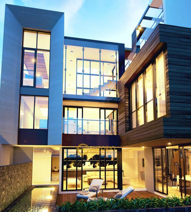 Desain Rumah Modern 3 Lantai Bapak Ilham II di  Jakarta