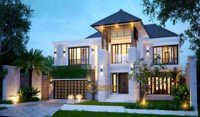 Desain Tampak Depan Rumah Villa Bali 2 Lantai Bapak Jos di Pekanbaru