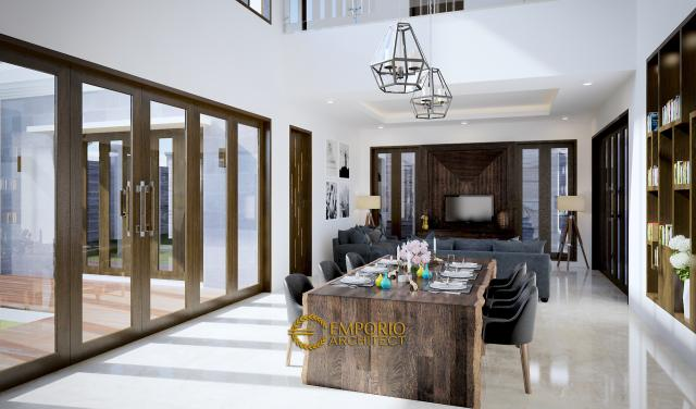 Desain Ruang Makan dan Ruang Keluarga Rumah Villa Bali 2 Lantai Bapak Jos di Pekanbaru