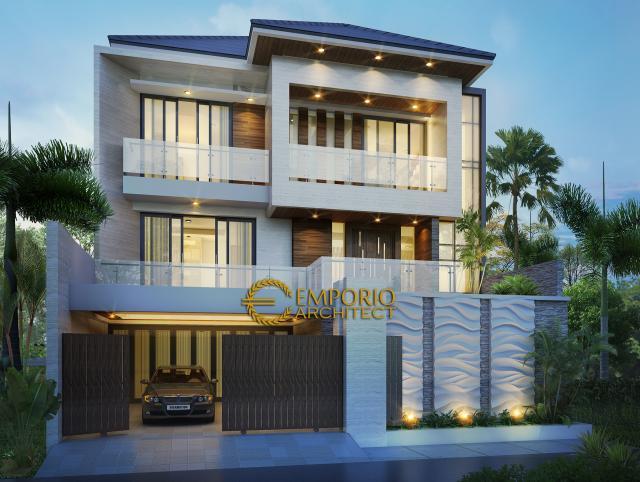 Desain Tampak Depan Rumah Modern 3 Lantai Bapak Kris di Bogor