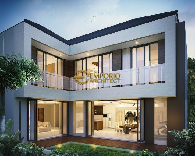 Desain Tampak Belakang Rumah Modern 3 Lantai Bapak Kris di Bogor