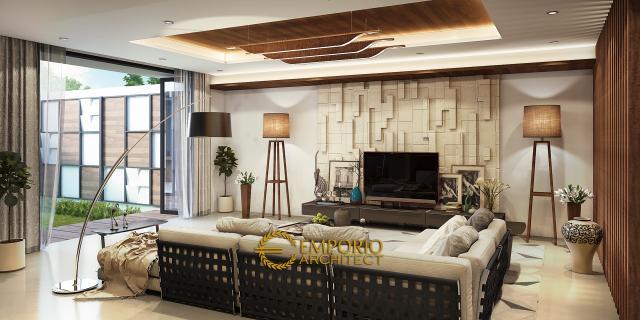 Desain Ruang Keluarga Rumah Modern 3 Lantai Bapak Kris di Bogor
