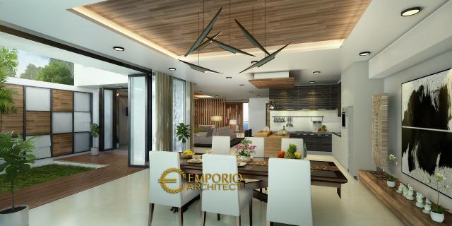 Desain Ruang Makan Rumah Modern 3 Lantai Bapak Kris di Bogor