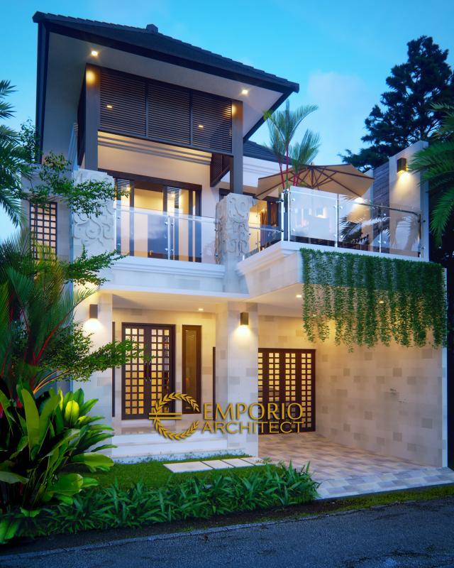 Desain Tampak Depan Rumah Villa Bali 2 Lantai Bapak Michael di Yogyakarta