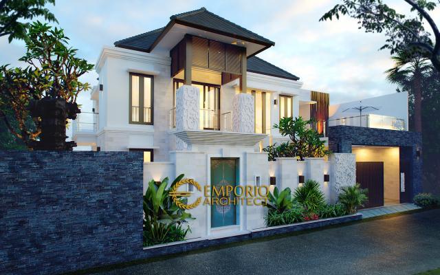 Desain Exterior Rumah Villa Bali 2 Lantai Bapak Partha di Denpasar, Bali