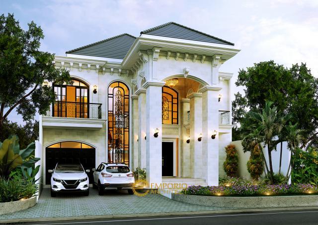 Desain Rumah Mediteran 2 Lantai Kavling 8 Bapak Pramudya di  Sentul, Bogor