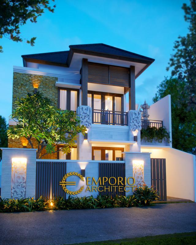 Desain Exterior Rumah Villa Bali 2 Lantai Bapak Sastrawan di Denpasar, Bali