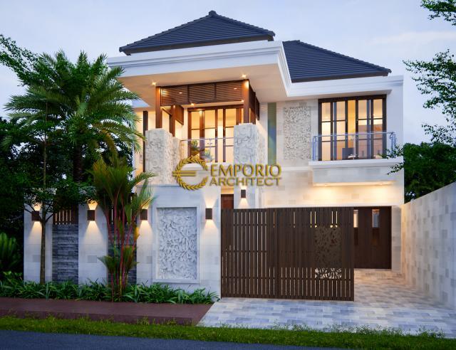 Desain Exterior Rumah Villa Bali 2 Lantai Bapak Soeharmin II di Semarang, Jawa Tengah