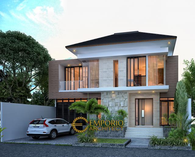 Desain Tampak Depan Tanpa Pagar Rumah Modern 2 Lantai Bapak Toto di Kebayoran Baru, Jakarta Selatan