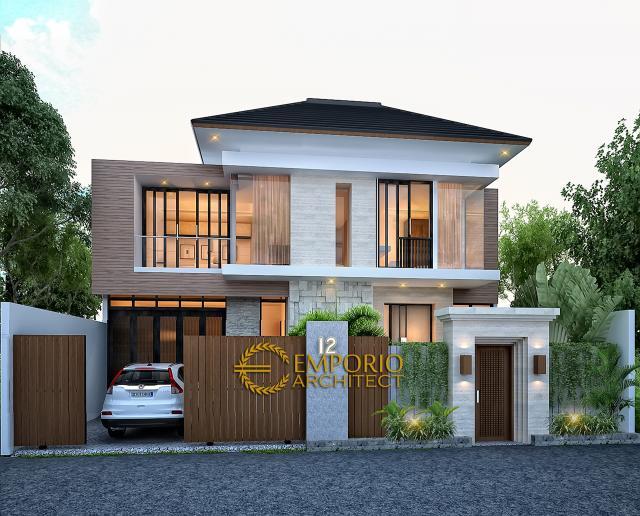 Desain Tampak Depan Dengan Pagar 1 Rumah Modern 2 Lantai Bapak Toto di Kebayoran Baru, Jakarta Selatan