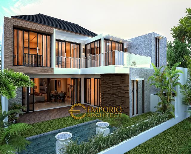 Desain Tampak Belakang Rumah Modern 2 Lantai Bapak Toto di Kebayoran Baru, Jakarta Selatan
