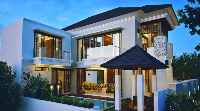 Desain Rumah Hook Villa Bali 2 Lantai Bapak Yandri di  Bogor