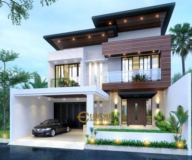 Desain Tampak Depan Tanpa Pagar Rumah Modern 2 Lantai Ibu Anisa di Jatibening, Bekasi