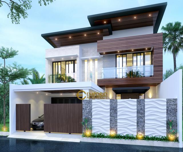 Desain Tampak Depan Dengan Pagar Rumah Modern 2 Lantai Ibu Anisa di Jatibening, Bekasi