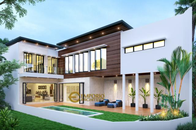 Desain Tampak Belakang Rumah Modern 2 Lantai Ibu Anisa di Jatibening, Bekasi