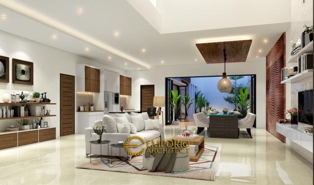 Desain Ruang Keluarga  Rumah Modern 2 Lantai Ibu Anisa di Jatibening, Bekasi