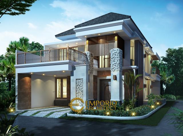Desain Exterior 1 Rumah Hook Villa Bali 2 Lantai Ibu Imelda di Jakarta