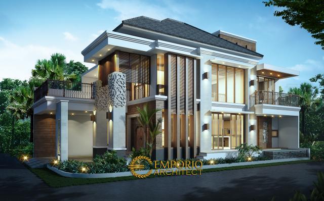 Desain Exterior 2 Rumah Hook Villa Bali 2 Lantai Ibu Imelda di Jakarta