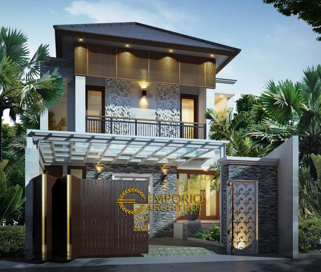 Desain Exterior Rumah Villa Bali 2 Lantai Ibu Meldi di Tangerang, Banten
